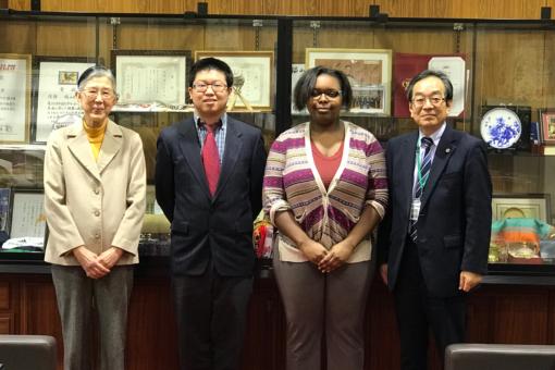 インディアナ大学からの実習生が松田学長を表敬訪問!