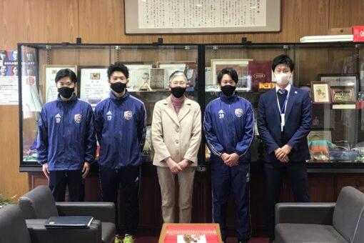 【サークル】学友会サッカー部が松田学長に全国大会の結果を報告!